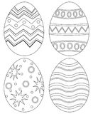 Black and white easter egg collection set poster. Stock Images