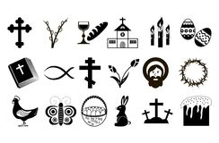 Black and White Easter Icons. Royalty Free Stock Image