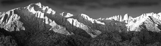 Black and white Eastern Sierra Panorama. Royalty Free Stock Photo