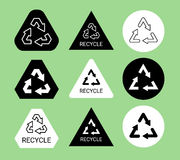 Black and white ecological recycle symbol sticker set, vector Stock Photography