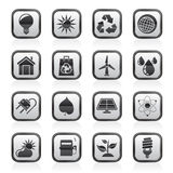 Black and white ecology, nature and environment Icons Royalty Free Stock Photos