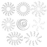 The black and white effect of the rotating fan propeller. Vector selection of round design elements on white isolated background. vector illustration