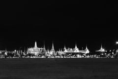 Black and white effect of Wat pra kaew Public Temple Grand palace at night, Bangkok Thailand Stock Image