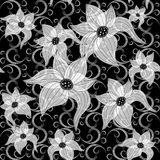 Black and white effortless floral pattern Royalty Free Stock Photography