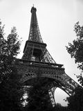 Black and White Eiffel Tower in the City of Paris France Stock Photography