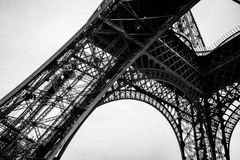 Black and White Eiffel Tower in the City of Paris France Stock Photo