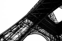 Black and White Eiffel Tower in the City of Paris France Royalty Free Stock Images