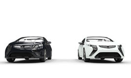 Black and White Electric Cars Front View Royalty Free Stock Photos