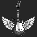 Cool guitar. Rock emblem for music festival. Heavy metall concert. T-shirt print, poster. Musical instrument. Badge. Black and white electric guitar set on white Stock Image