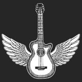 Cool guitar. Rock emblem for music festival. Heavy metall concert. T-shirt print, poster. Musical instrument. Badge. Black and white electric guitar set on white Royalty Free Stock Photography