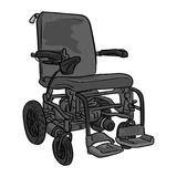 Black and white electric wheelchair vector illustration sketch d. Oodle hand drawn with black lines isolated on white background Royalty Free Stock Image
