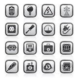 Black and white electricity, power and energy icons. Vector icon set Stock Photos