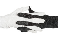 Black and white  elegant women's gloves with rhinestones Stock Photo