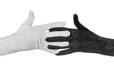 Black and white  elegant women's gloves with rhinestones Royalty Free Stock Photos