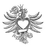 Black and white emblem with the eagle Stock Images