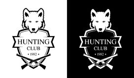 Black and White Emblem for Hunting Club Royalty Free Stock Image