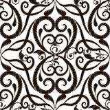 Black and white embroidery Damask vector seamless pattern. Flora vector illustration
