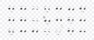 Black and white emotions eyes of anime manga girls. Black and white real eyes of anime manga girls, in Japanese style. Set of various emotions stock illustration