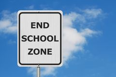 Black and white End School Zone Sign stock images