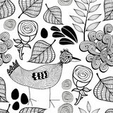 Black and white endless background with nature elements and doodle bird. Stock Images