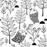 Black and white endless pattern with doodle birds in the forest. Vector seamless background for coloring Stock Images