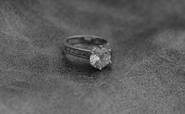 Black and white engagement ring Stock Image