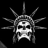 Black and white engrave evil vector skull face Royalty Free Stock Image