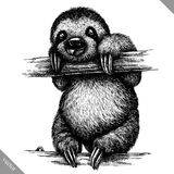 Black and white engrave isolated sloth vector illustration. Black and white engrave isolated sloth vector art Stock Images