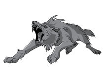 Black and white engrave isolated vector wolf Royalty Free Stock Photos