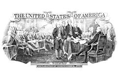 Black and white engraving of Declaration Of Independence Stock Photo