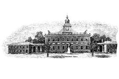 Black and white engraving of Independence Hall Royalty Free Stock Images