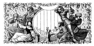 Black and white engraving. Medieval people drink beer. A black and white engraving depicting a large barrel centered around the barrel depicts people who pour stock images