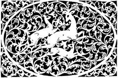 Black-and-white engraving with three reindeer Stock Photos
