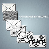 Black-white envelopes. Envelopes with many abstract black-white pattern cover Royalty Free Stock Photo