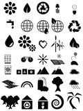 Black and white environmental icons Stock Photos