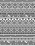 Black and white ethnic geometric aztec seamless borders pattern, vector