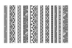 Black and white ethnic geometric aztec seamless borders set, vector Stock Photo