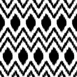 Black and white ethnic ikat abstract geometric pattern, vector Stock Images