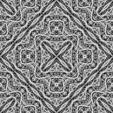 Black and White Ethnic Intricate Seamless Pattern Stock Image