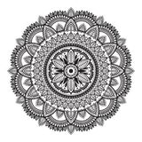Black and white ethnic mandala on white background. Circular decorative pattern. Vector illustration stock illustration