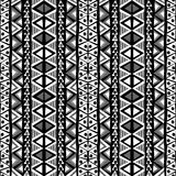 Black and white ethnic motifs background in doodle style Stock Photo
