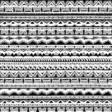 Black-and-white ethnic seamless background. Geometric ornament. Vector illustration handmade Royalty Free Stock Photography