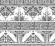 Black and white ethnic seamless pattern with hand drawn elements Stock Photos