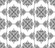 Black and white ethnic seamless pattern with hand drawn elements Royalty Free Stock Images