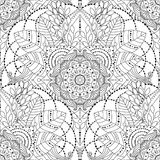 Black and white ethnic seamless pattern. Tribal vintage ethnic seamless pattern with floral mandala. Black and white oriental ornament, boho gypsy style. Vector royalty free illustration