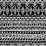 Black-and-white ethnic seamless pattern. Vector illustration. Drawing by hand Royalty Free Stock Photography