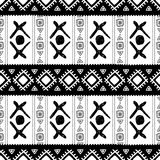 Black and white ethnic seamless pattern. Vector illustration. Drawing by hand Royalty Free Stock Photography