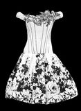Black and white evening ladies' dress Stock Photo
