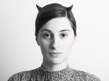 Black and White Evil Woman Portrait With Red Eyes Stock Photos