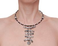 Black and white exotic necklace royalty free stock photo